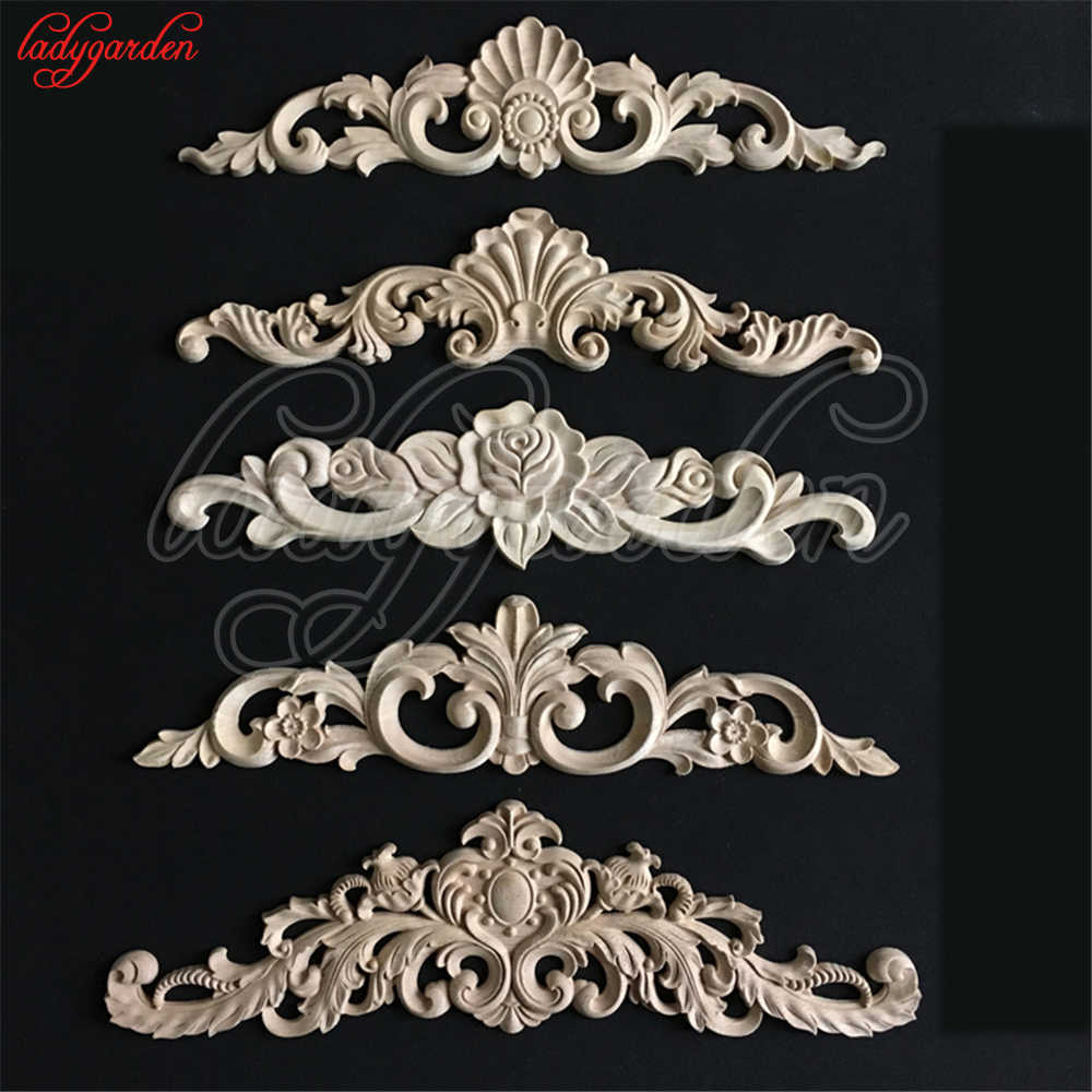 Wood Carved Decal Corner Appliques Frame Doors Furniture Woodcarving Decorative Wooden Figurines Craft Wood Carved Long Applique