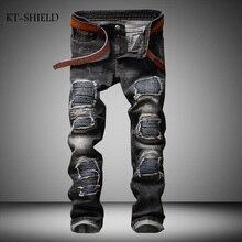 Mens Ripped Biker Jeans homme Men's fashion Motorcycle Slim Fit Gray Moto Denim Pants Joggers Men Street Amazing Special Pants