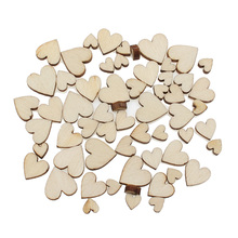 100Pcs Mixed Woody Heart Wooden Crafts Embellishments MDF Unfinished Wood Scrapbooking For Craft Decoration Diy