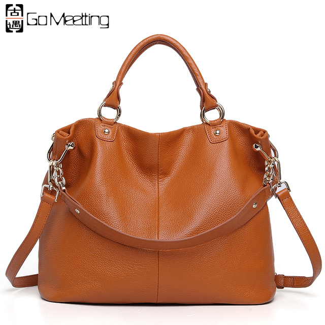 Go Meetting Brand Women Genuine Leather Handbag Fashionable First Layer Cowhide Shoulder Totes Crossbody Bags for Ladies WS39