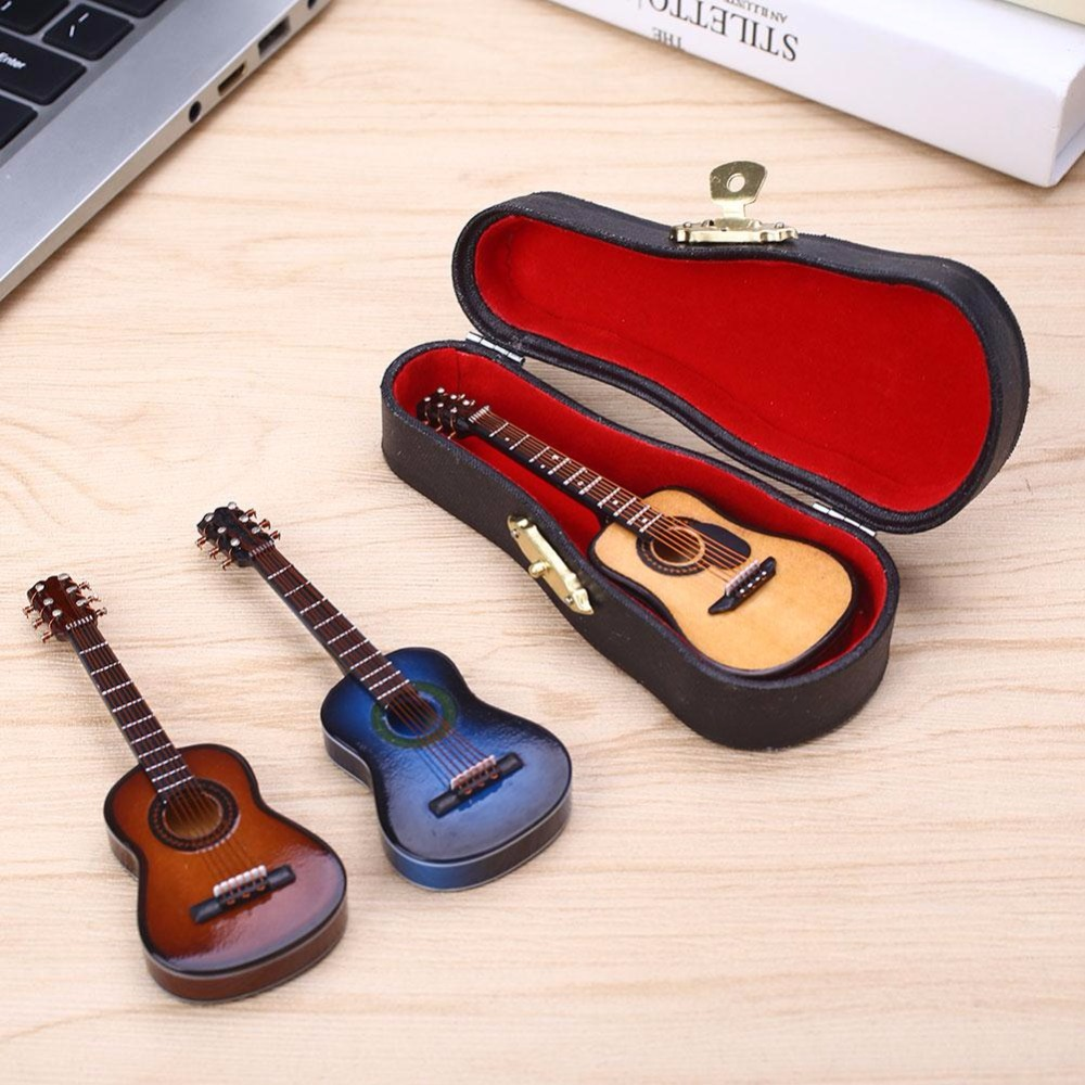 Wooden 1:12 Miniature Guitar Mini Acoustic Musical Bass Instrument Ornaments Dollhouse Case Electric Model Toys Accessories