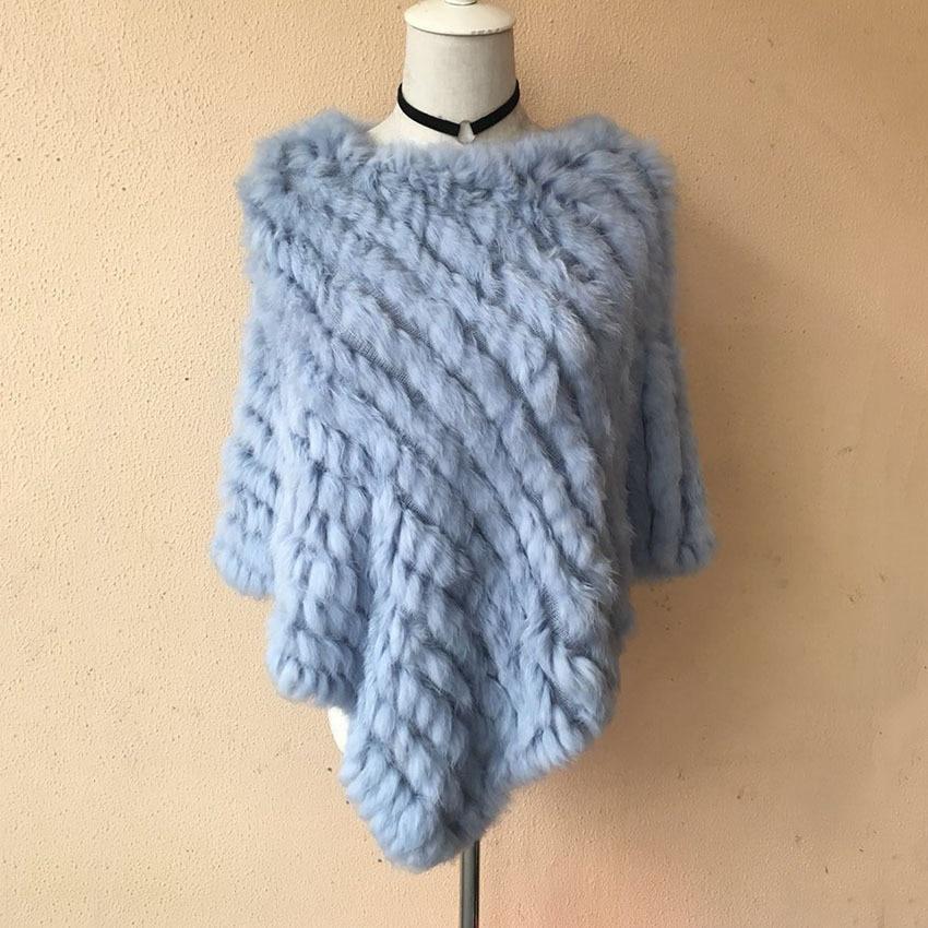 Winter Coat Women Fashion Rabbit Triangle Shawl Woven Cloak Hand-knitted Real Fur Coat Women's Rabbit Fur Coats Capes & Ponchos