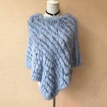 Winter Coat Women Fashion Rabbit Triangle Shawl Woven Cloak Hand-knitted Real
