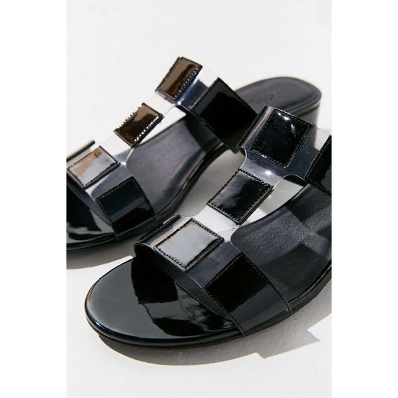 0eb96928a6f3a US $62.99 10% OFF|Black Patent Leather and Clear T Strap Block Heels Open  Toe Mules Spring Autumn Anniversary Black Friday Fashion Slippers FSJ-in ...