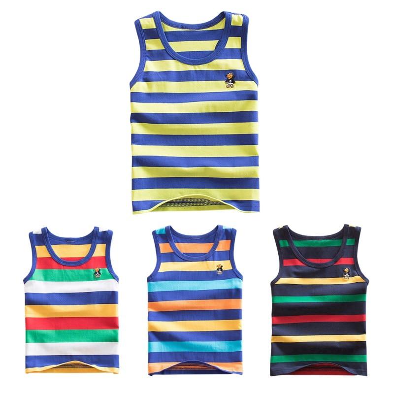 Baby Boys Girls Vest Undershirts Kids Singlet Cotton Underwear Summer  Children Vests Tops 7 Candy Color New-Leather bag