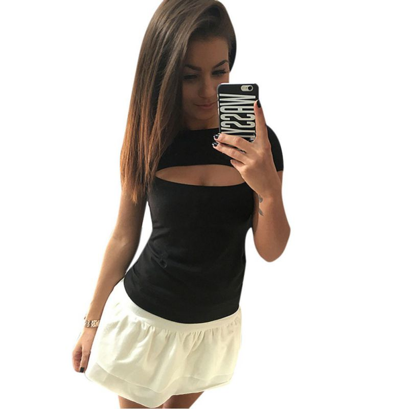 stylish women open chest tees sexy women 39 s solid t shirt tops punk tshirt women novelty t shirt. Black Bedroom Furniture Sets. Home Design Ideas
