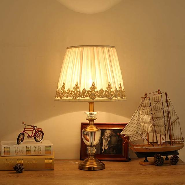 Modern Luxury Crystal Table Lamp Fabric Lampshade Living Room Bedroom  Bedside Light Home Lighting Antique Brass