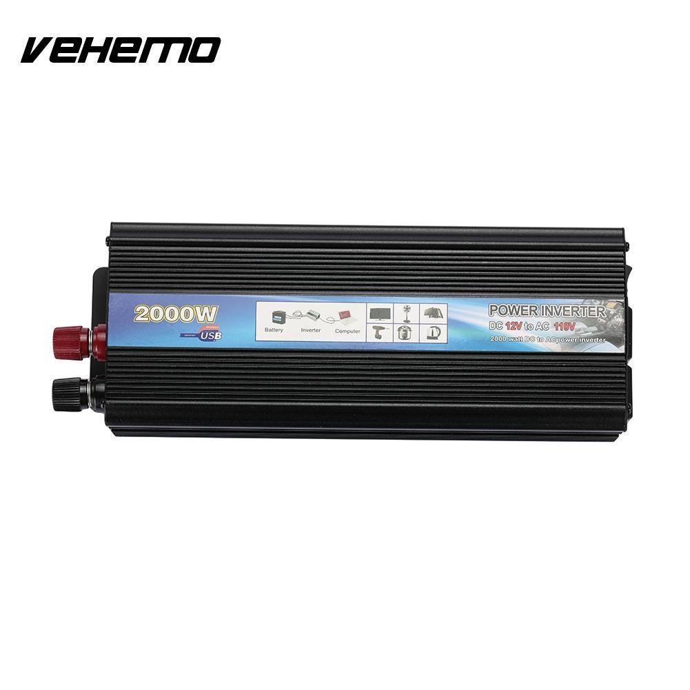 Vehemo 2000W Car Power Supply Inverter Output Socket Converter US Plug DC12V to AC110V