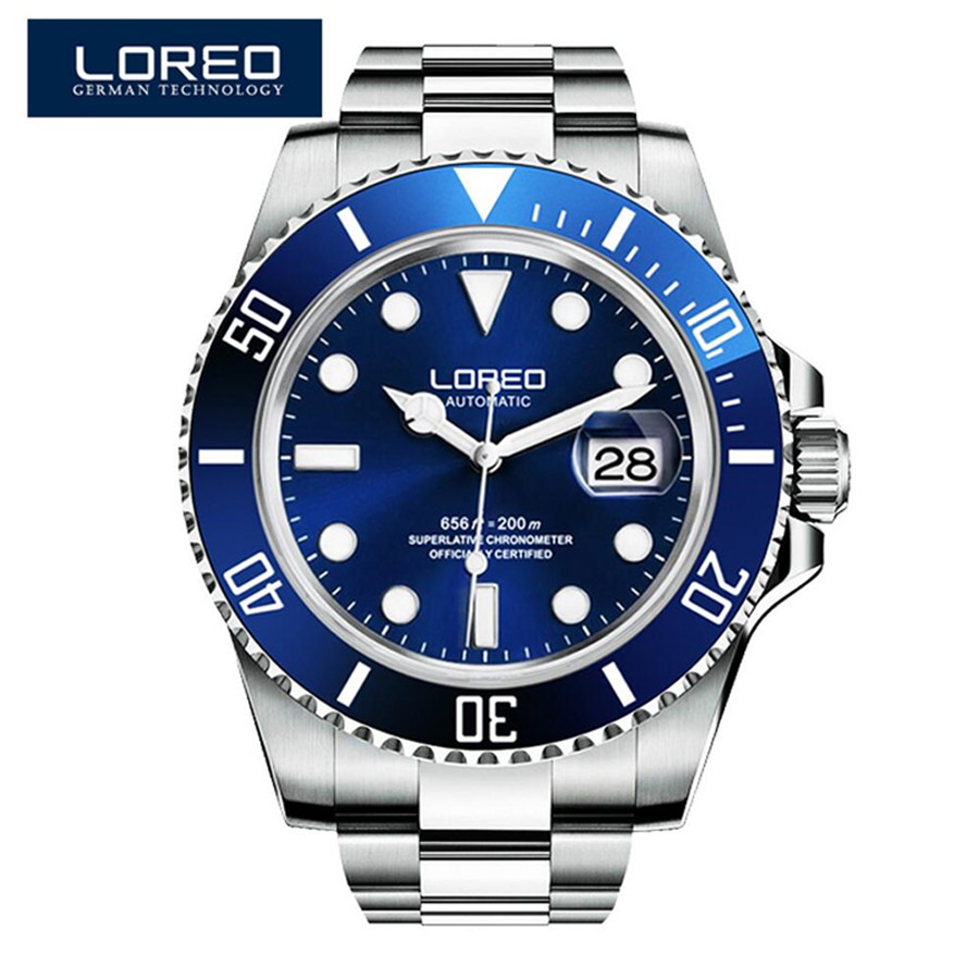 Top Sale New LOREO Brand Luxury Diving 200M Mechanical Watches Casual Rotating Ceramic Bezel Automatic Watch Men Gift Male Clock loreo black genuine leather 200m diving military mechanical luxury men sports watches fashion automatic wristwatches male