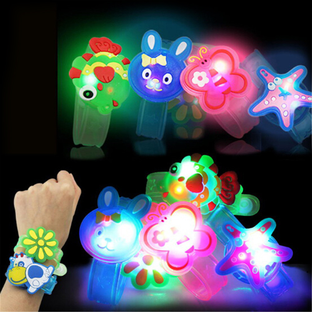 1pcs Creative Cartoon Watch Boys Girls Flash Wrist Band Glow Luminous Bracelets Children's Day/Birthday Party Gifts Toy Soft