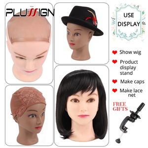 Image 5 - Rubber Female Mannequin Head and Clamp For Wigs Professional Cosmetology Bald Mannequin Head For Making Wigs With Stand 19 21""