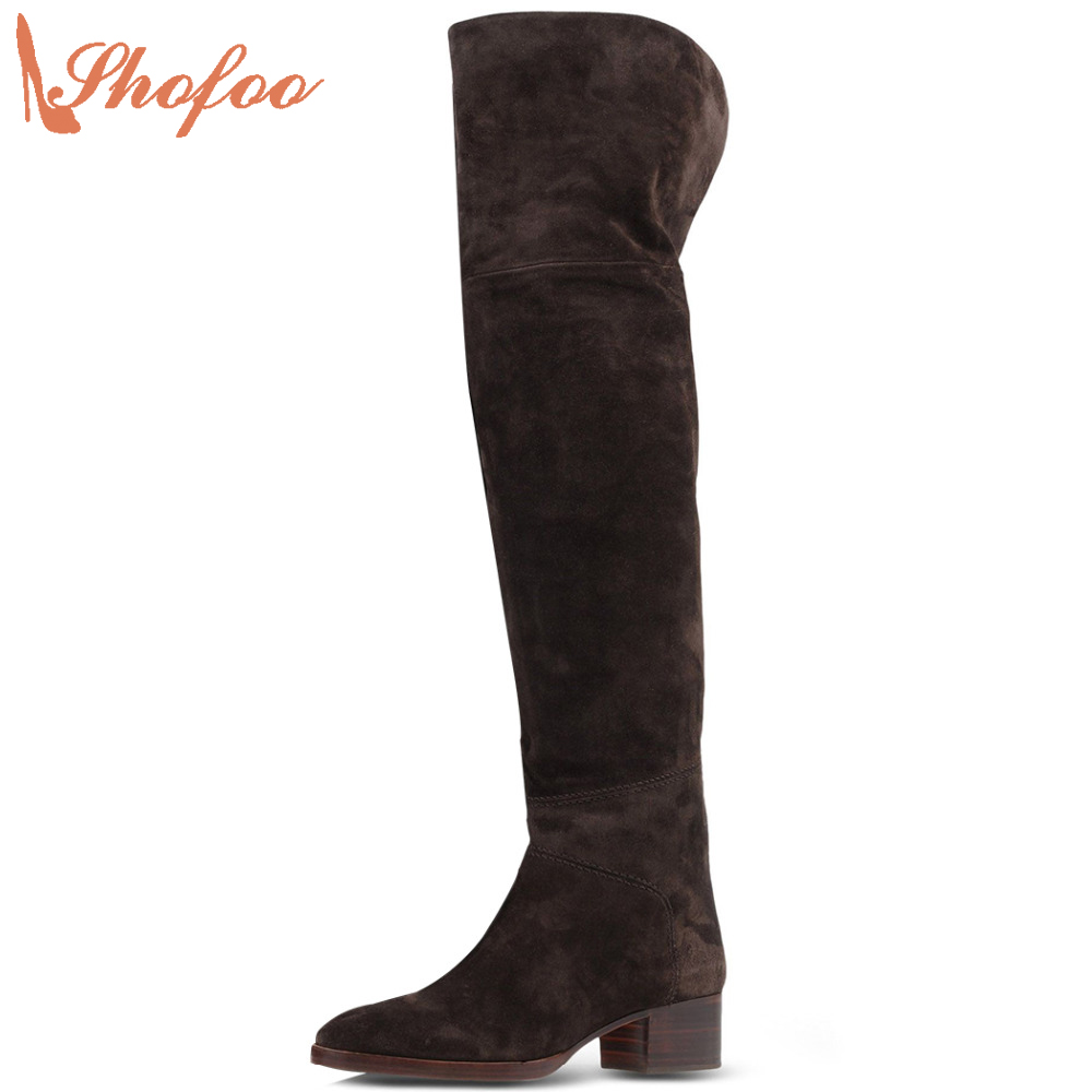 Shofoo 2017 Women Coffee&Brown Round Toe Over-the-Knee Winter Boots Slip-on Shoes For Woman Dress&Party&Office ,Large Size 4-16 woman sexy black round peep toe 15 cm high heels pumps dress office party evening slip on shoes large size 4 16 shofoo design