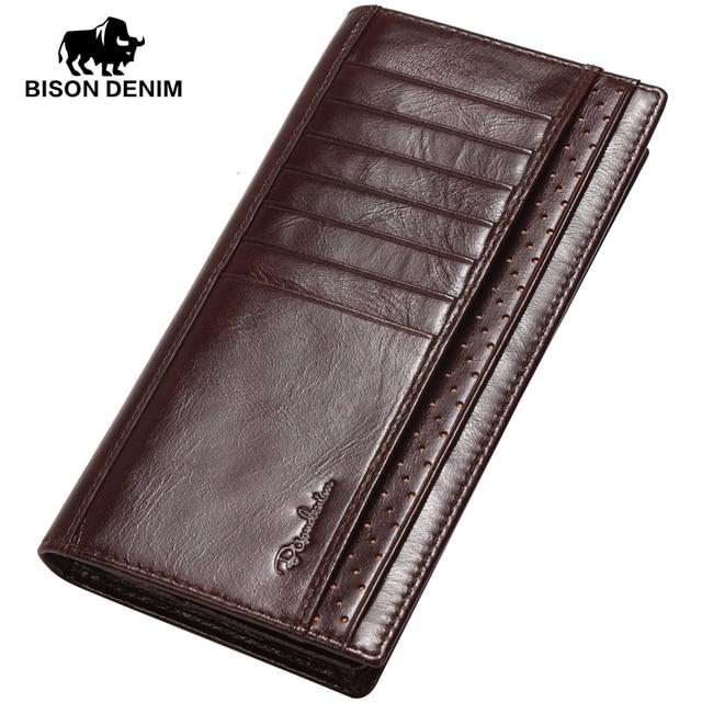 BISON DENIM 2016 Original Design leather long Wallet Men High Grade First Layer Cowskin purses Brand men Clutch Wallets W4406-1