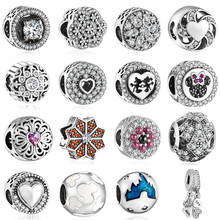 hot 925  silver European cubic zirconia Charm Beads Fit Pandora Style