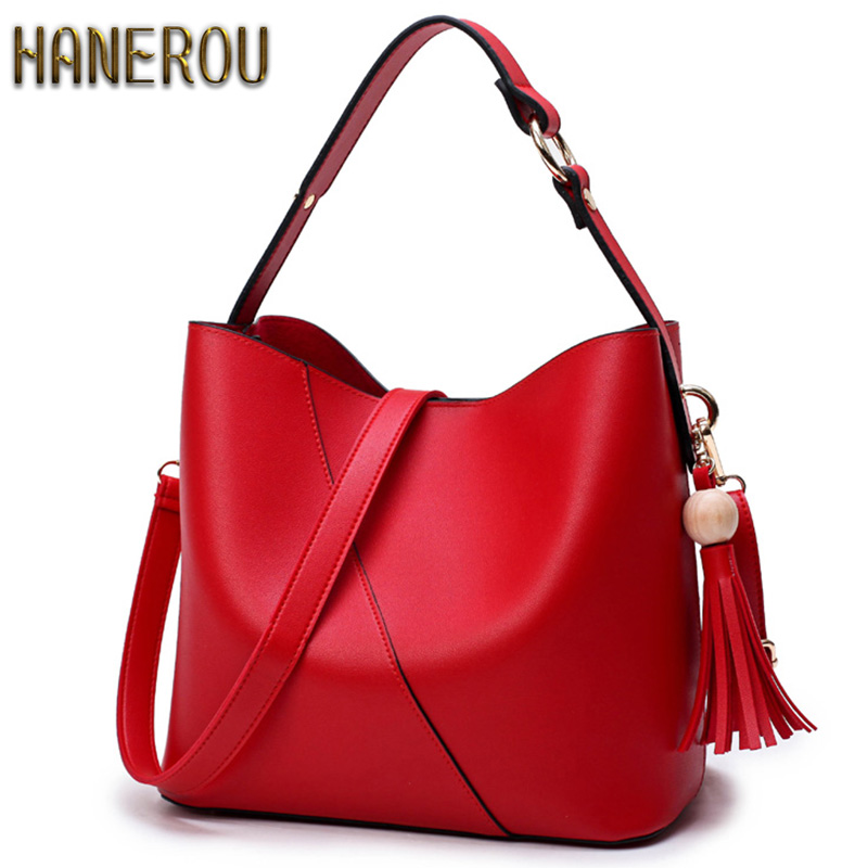 HANEROU Fashion 2018 PU Leather Women Handbag Brand Summer Bucket Women Bag High Quality Ladies Tote Bag New Shoulder Bags Girl new arrival women handbag fashion pu leather women big shoulder bags zipper soft ladies bag high quality valentine tote bag