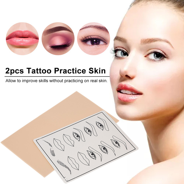 1c23b5dda 2pcs Permanent Makeup Tattoo Practice Skins Facial Microblading Tattoo  Practice Skin Eyebrows Lips Silicone Fake Skin