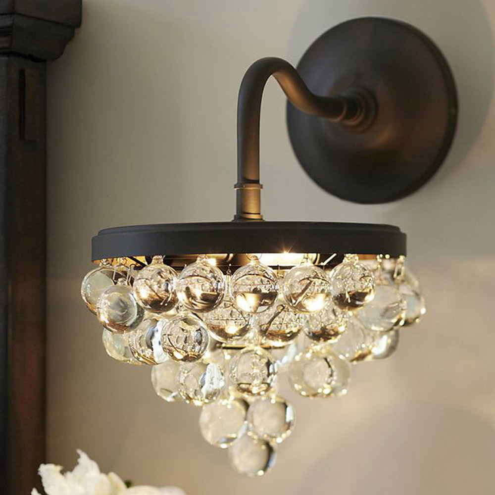 Classic Crystal Wall Lamp Lampshade 40W E27 Bedroom Aisles ...