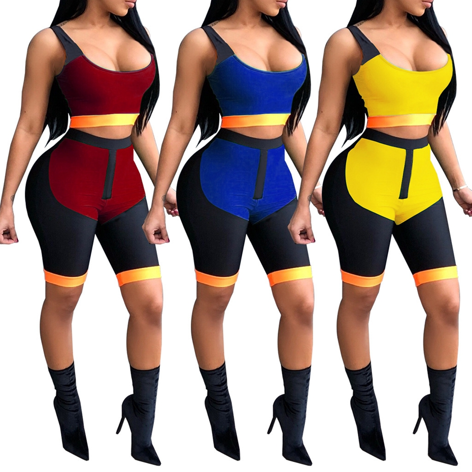 HAOYUAN Sexy Two Piece Set Summer Outfits Sweatsuit Club Crop Top and Shorts Sweat Suit Fitness Bodycon 2 Piece Tracksuit Women