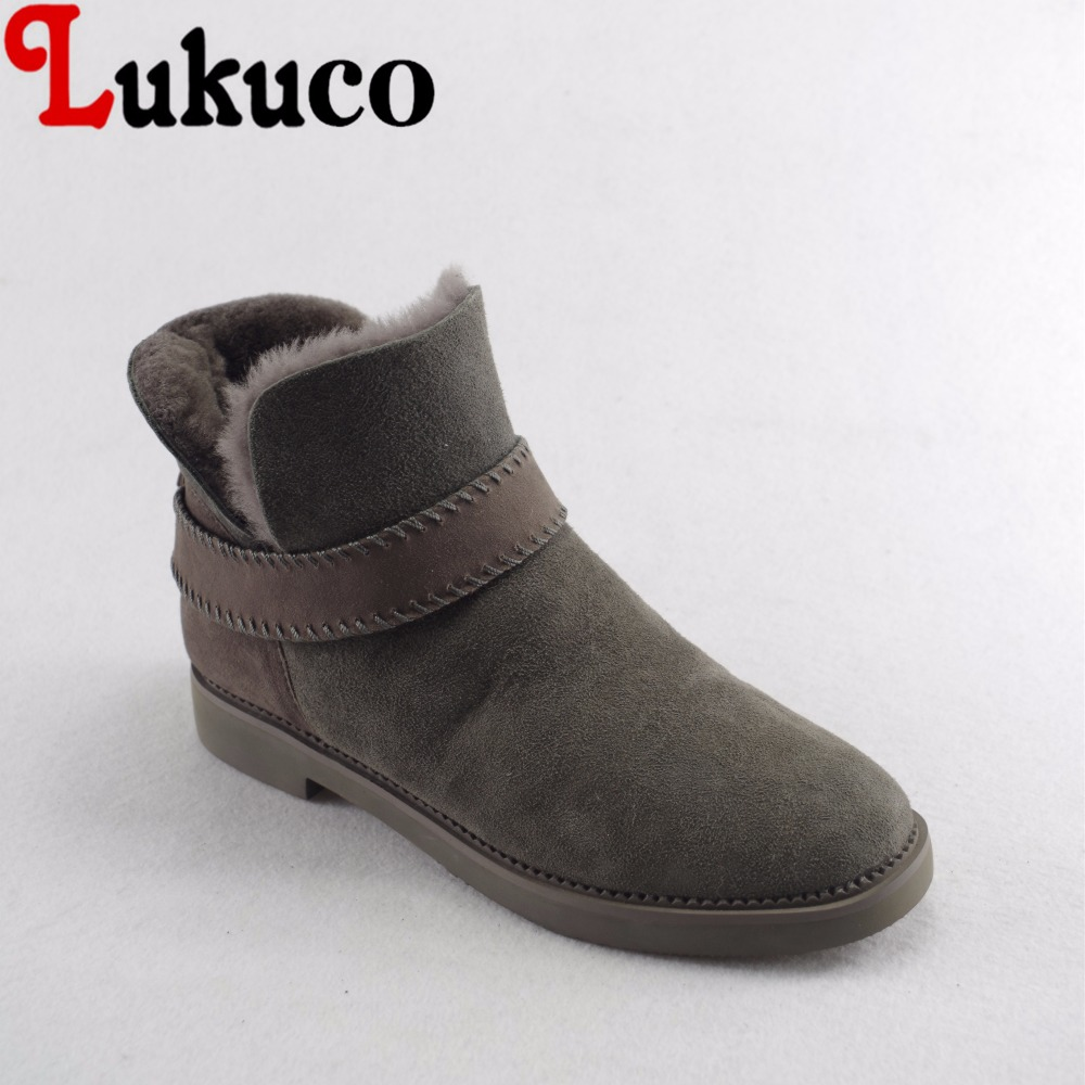 Lukuco pure color women ankle snow boots microfiber made nubuck leather winter shoes with plush inside lukuco pure color women mid calf boots microfiber made buckle design low hoof heel zip shoes with short plush inside