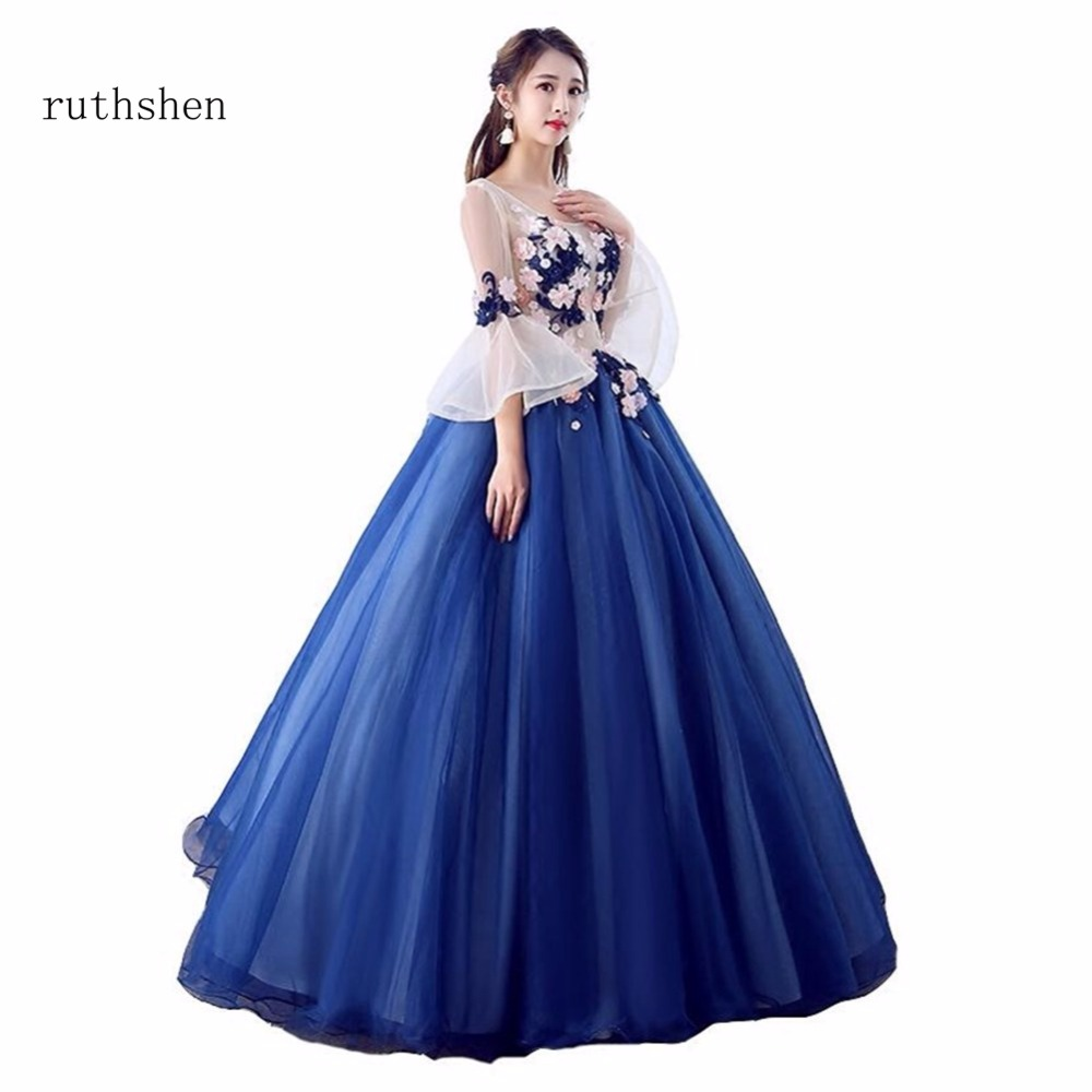 ruthshen Dark Navy Blue Quinceanera Dresses Beaded Flowers Tulle Debutante  Sweet 16 Girls Masquerade Prom Ball 03bb9f76300b