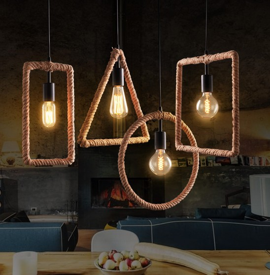 Loft Style Geometric Circle Rope Droplight Edison Industrial Vintage Pendant Light Fixtures For Dining Room Hanging Lamp american loft style hemp rope droplight edison vintage pendant light fixtures for dining room hanging lamp indoor lighting