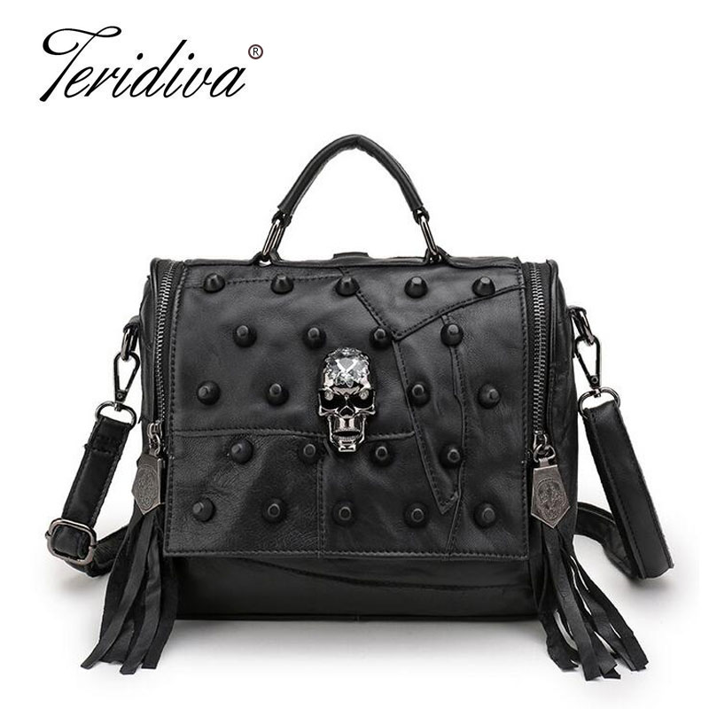 Teridiva Genuine Leather Bag Women Handbag Vintage Patchwork Sheepskin Shoulder Bags Messenger Bag Rivet Tassel Punk Skull Purse 2016 spring newest vintage women handbag fashion skull rivet women s one shoulder messenger bag