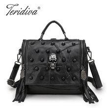 Teridiva Genuine Leather Bag Women Handbag Vintage Patchwork Sheepskin Shoulder Bags Messenger Bag Rivet Tassel Punk Skull Purse