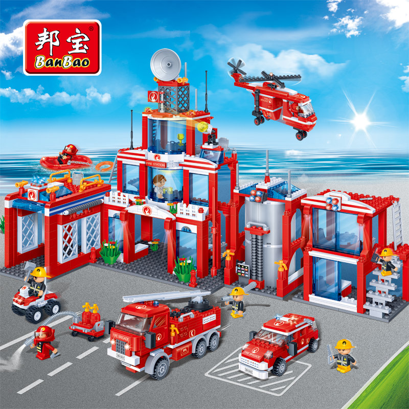 BanBao Fire Station Educational Building Blocks Toys For Children City Hero Firefighters Cars Truck Boat Helicopter Stickers enlighten police educational building blocks toys for children kids gifts city hero cars bus boat moto helicopter