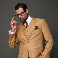 2017 עיצובים צפצף המעיל האחרונים חליפת גברים חאקי חום קלאסי Slim Fit חליפות ליזר החתונה תלבושת Custom 3 Piece מודרני Terno
