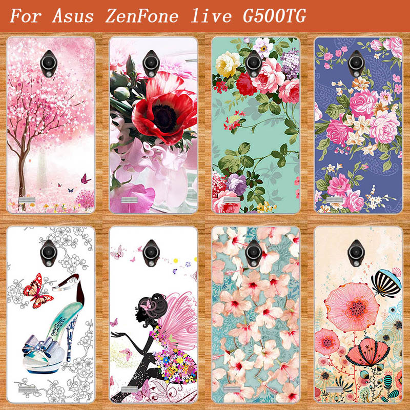 High Quality Painted Colored Flowers Fruit High-heels Soft Tpu Case Cover For <font><b>Asus</b></font> Zenfone <font><b>Live</b></font> <font><b>G500TG</b></font> 5.0