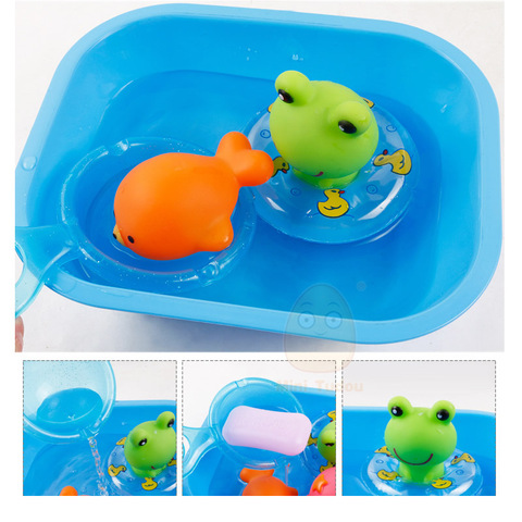Baby Bath Toys Kids Swimming Water Toys Bathroom Colorful Soft Floating Rubber Animal Squeeze Sound Squeaky Bath Toy Organizer Karachi