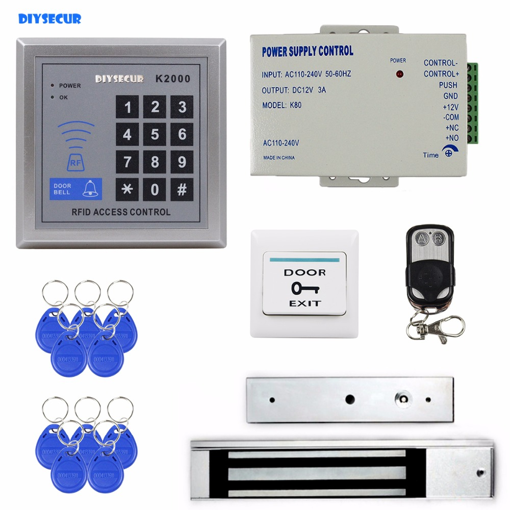 DIYSECUR 125KHz Rfid Card Reader Door Access Control Security System Kit + 280Kg Electric Magnetic Lock K2000 diysecur waterproof 125khz rfid card reader access control 280kg waterproof electric magnetic lock access control security kit