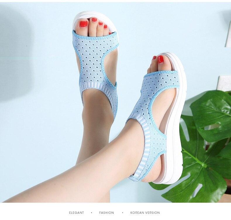 PINSEN Women Sandals 2019 New Female Shoes Woman Summer Wedge Comfortable Sandals Ladies Slip-on Flat Sandals Women Sandalias