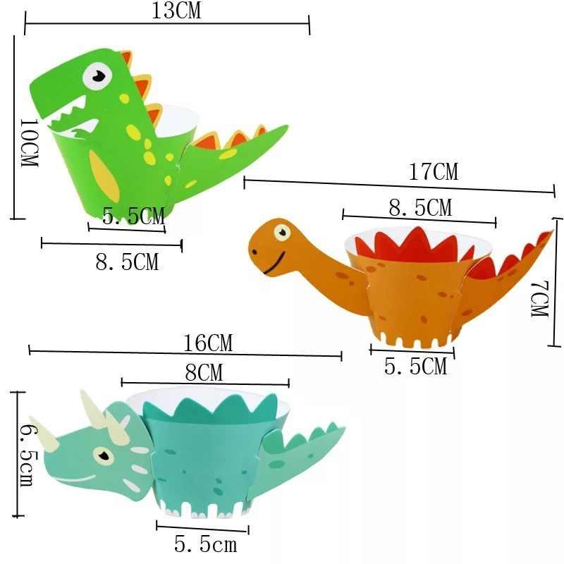 12 unidades/pacote 2019 novo dinossauro dos desenhos animados animal diy bolo decoração papel caixa de embalagens cupcake para festa aniversário decorações crianças