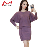 2017 Women Set Autumn 2 Pieces Female Batwing Sleeve Knitted Pullover Sweater Coats Mini Skirts Knitting