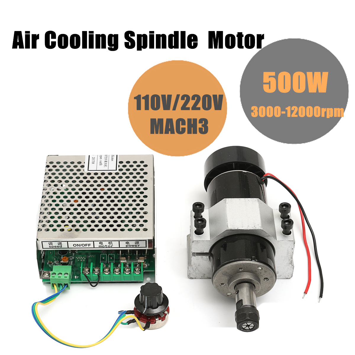 Brand New 1 Set CNC Spindle 500W Air Cooled 0.5kw Milling Motor With Spindle Speed Power Converter-in Machine Tool Spindle from Tools