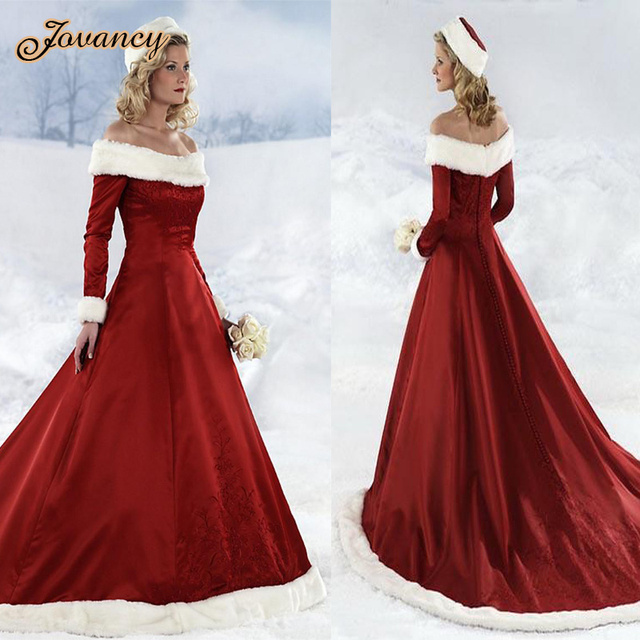 red christmas wedding dresses off the shoulder long sleeve court train thick winter bridal gown