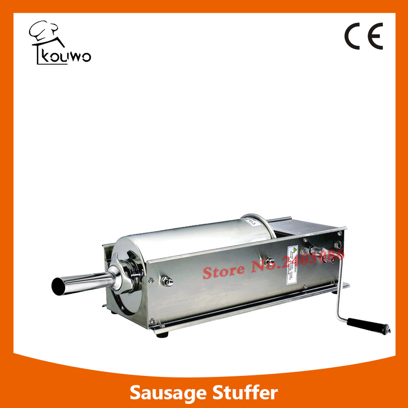 High Quality  Manual 7l Stainless Steel horizontal Sausage Filler Stuffer,Sausage Making Machine economic s steel manual s series sausage filler for hotel butcher home use and hunters