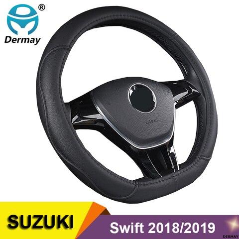 capa volante de volante de carro em forma de d couro pu para suzuki swift