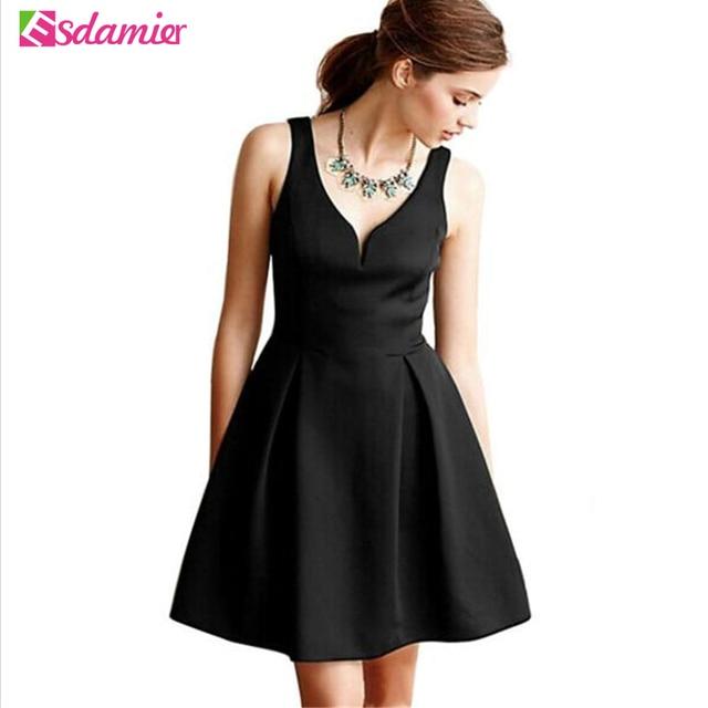 New Arrival V Neck Little Black Dress Women Elegant Empire Waist