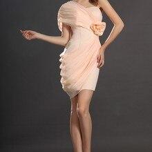 Новое Стильное облегающее свадебное платье Плиссированное коктейльное платье на одно плечо