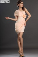 Freeshipping New Stylish Sheath Gown One shoulder Pleated Cocktail Dresses