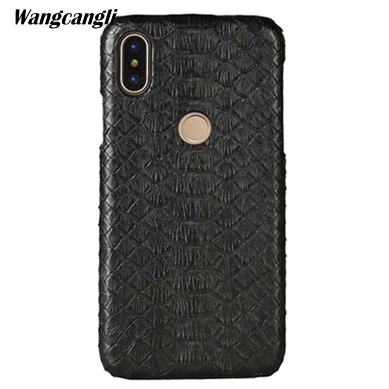 Wangcangli cuir peau de python couverture arrière pour Xiao mi mi 8 étui peau de python haut de gamme personnalisé étui de téléphone pour xiaomi mi Max 3