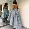 Sexy Luz Azul Puffy Apliques de Encaje hi-lo de Baile Vestido vestido De vestido de bola de fiesta africano alto bajo party dress 2017 robe de soirée