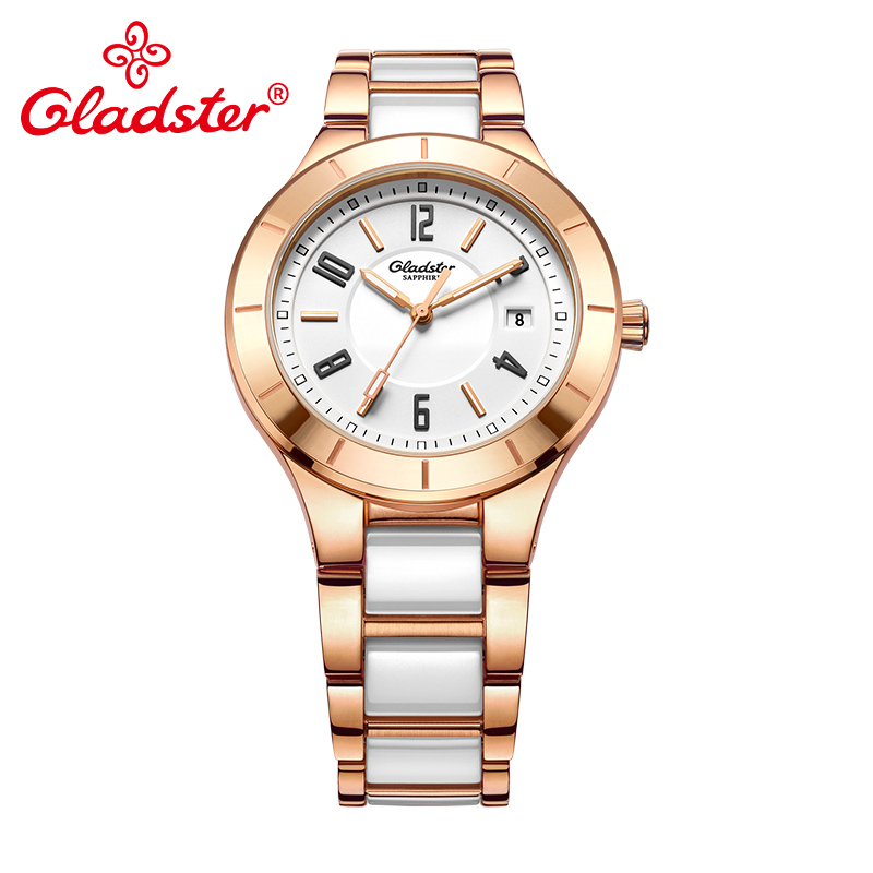 Gladster Fashion Golden Women Watch Waterproof Ceramic with Steel Female Wristwatch Sapphire Crystal Dress Ladies Quartz Clock цена 2017