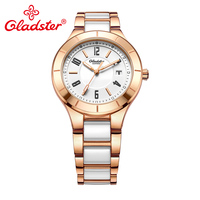 Gladster Fashion Golden Women Watch Waterproof Ceramic with Steel Female Wristwatch Sapphire Crystal Dress Ladies Quartz Clock