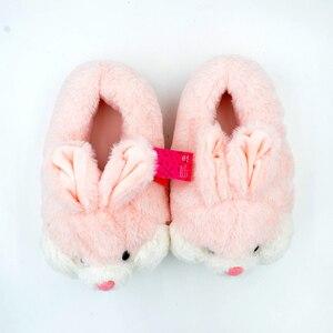 Image 3 - Millffy adorável coelho rosa de pelúcia inverno quente chinelos de veludo confortável interior sapatos hamster bunny chinelos de gato de pelúcia