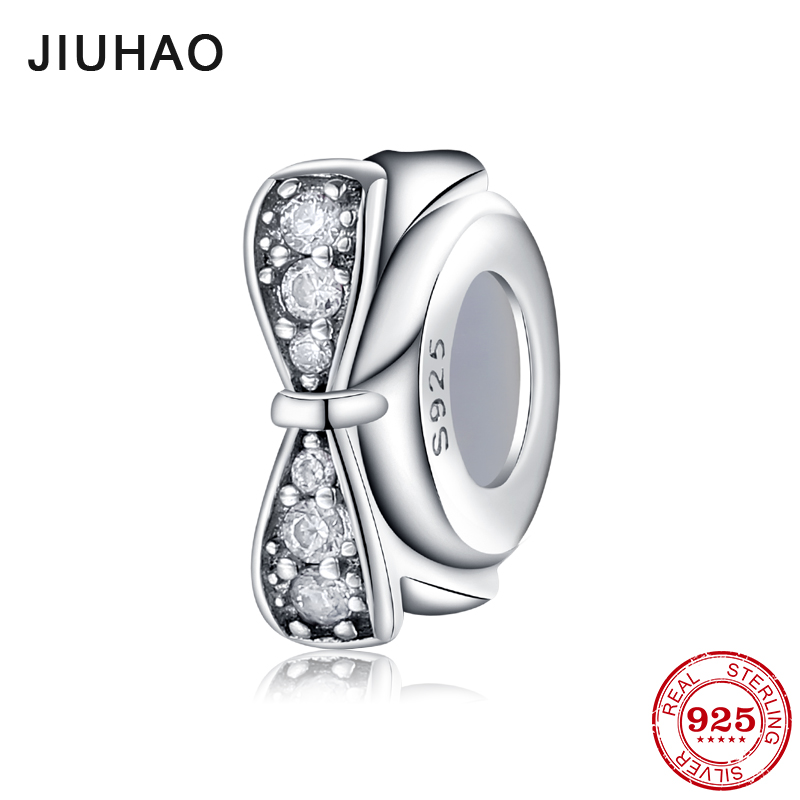 New 925 Sterling Silver charming crystal CZ bow Spacer beads womens accessories 2018 Fit Original Pandora Charm Bracelet Jewelry 2018 love dancing bow ballet shoes beads charm 925 sterling silver cz pendant fit original pandora diy bracelet jewelry making