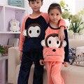 2016 Novos Chegada do Outono Conjunto de Algodão Do Bebê Meninas Meninos Inverno Engrossar Miúdos Dos Desenhos Animados Pijamas Crianças Conjuntos de Pijama de Flanela Sleepwear
