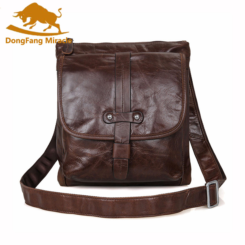 DongFang Miracle Genuine Leather vintage bag Men leather Bags Messenger Bag laptop Male Casual tote Shoulder Crossbody bags dongfang miracle high quality genuine leather men messenger bags casual shoulder bag male multifuntional small bag